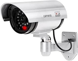 Realistic Looking Dummy/Fake IR Security CCTV Bullet Camera with Red Flashing LED Light (Silver)