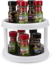 Lazy Susan Turntable Spice Organizer 2-Tier Non-Skid 10 Inch Spice Rack Cabinet Organizer 360° Rotation by WISH