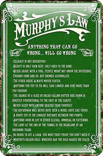 Price comparison product image Shamrock Gift Irish Metal Sign - Murphy's Law,  Green