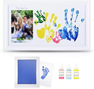 DIY Family Photo + Family Hand/Footprints Kit with 10 X 17'' Elegant White Wood Picture Frame, Ink Pad, Non-Toxic Watercolor Paints, Registry Keepsakes Mother's Day Gift