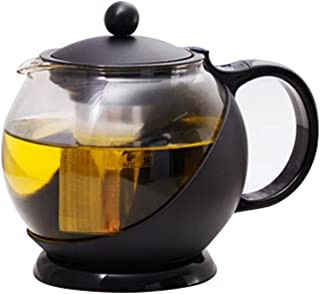 Tosnail 1250 ml Stunning Glass Tea Pot with Removable Rust Free Infuser - Large Enough for 4 to 5 Cups of Tea
