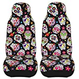 BLUBLU Car Front Seat Covers 2 PCS, Vehicle Seat Protector Car Mat Covers, Fit Most Cars, Sedan, SUV, Van - Day of The Dead Sugar Skull