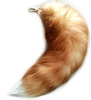 Mounan Real Fox Tail Keychain Fluffy Fur Tail for Kids Costume Cosplay