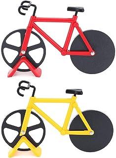 TAECOOOL - Cortador de pizza de acero inoxidable para bicicleta (2 piezas), color rojo y amarillo