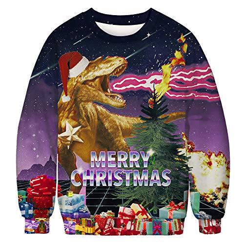 U LOOK UGLY TODAY Unisex Weihnachten Sweatshirt Hässliche Neuheit Pullover 3D Print Design Männer Frauen Neuheit Pullover 3D Print Design Lustige Weihnachten Pullover Crewneck/Hoodie, XX-Large Size