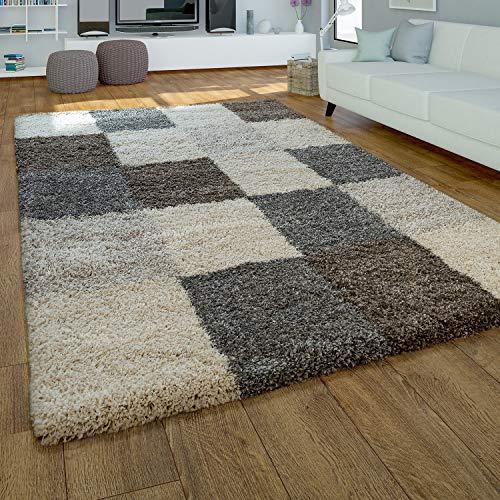Paco Home Moderner Hochflor Teppich Hochwertig Kuschelig Weicher Shaggy Kariert Grau Beige, Grösse:80x150 cm