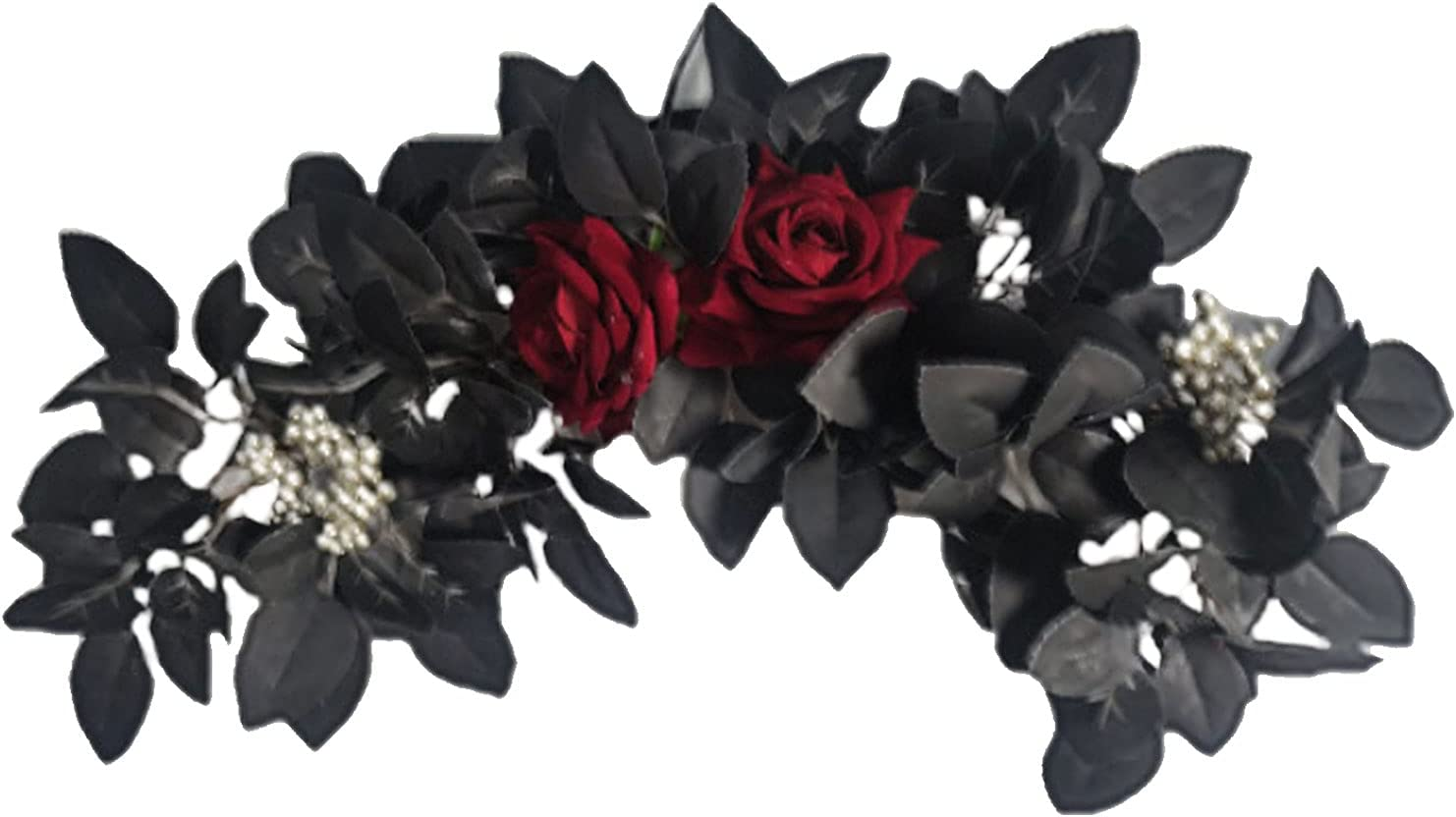 Our shop OFFers the best service BOICXM 19.7 Indefinitely in Artificial Black Rose Fl Leaf Halloween Door Swag