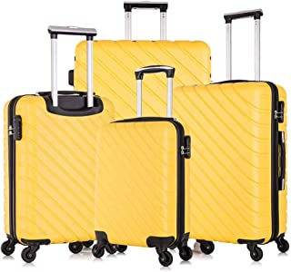 Apelila 4 Piece Luggage Sets,Travel Suitcase Spinner Hardshell Lightweight w/Free Suitcase Cover& Hanger (4 PCS Yellow)