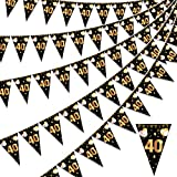 HOWAF Happy 40th Birthday Banner Bunting Flag Triangle Banner Gold and Black Glitter 13th Birthday Anniversary Party Decoration Supplies, 7.4 x 10.8 Inch