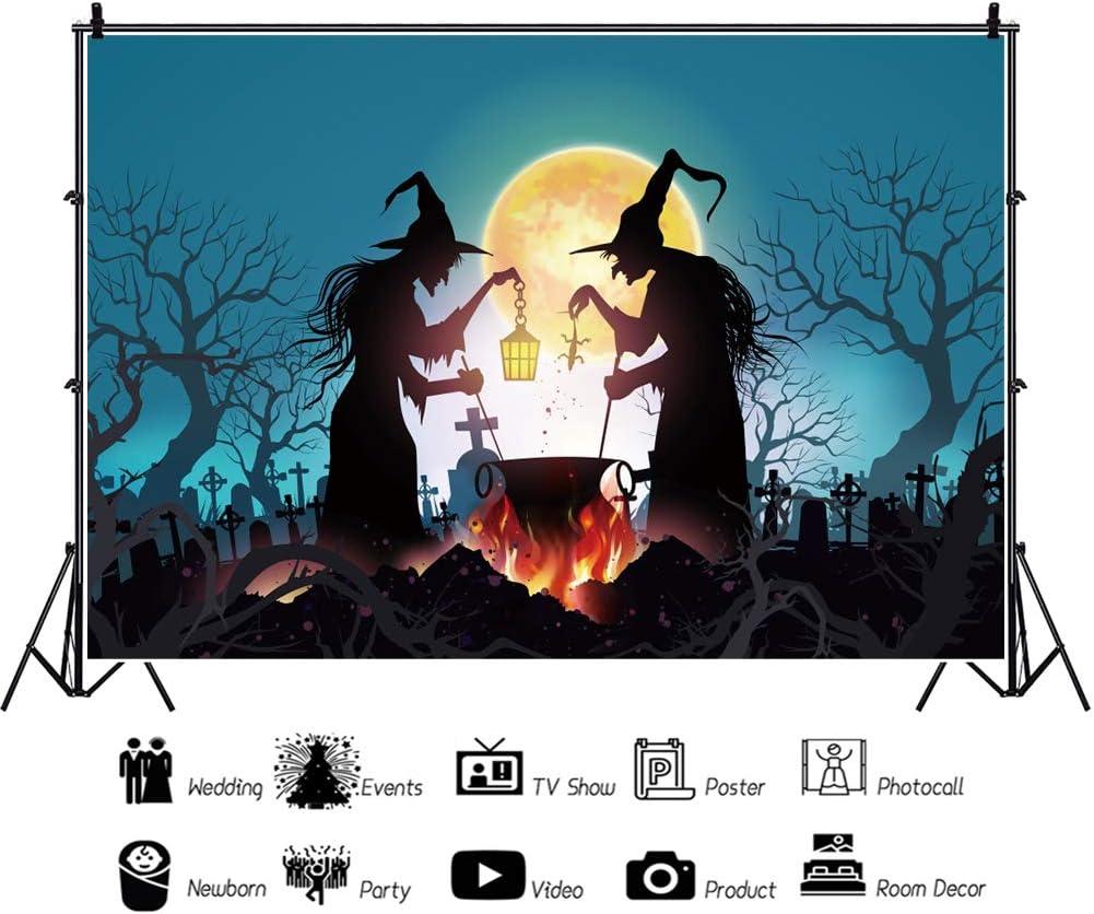 OERJU 5x4ft Halloween Night Background Midnight Bleak Deserted City Ruins Dark Skies Photography Backdrop Scary Halloween Party Boys Girls Adults Portrait Photo Studio Props Vinyl Wallpaper