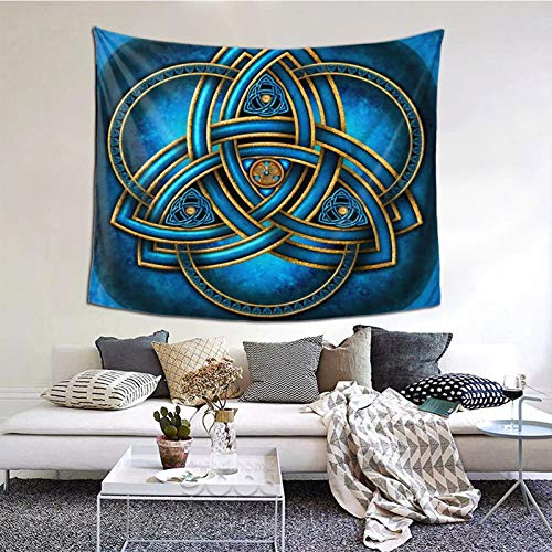 AMIURY Celtic Blue And Gold Triquetra Tapestries Wall Hanging Art Home Decor Decoration Tapestry for Bedroom Living Room,Sizs: 60*51 inch