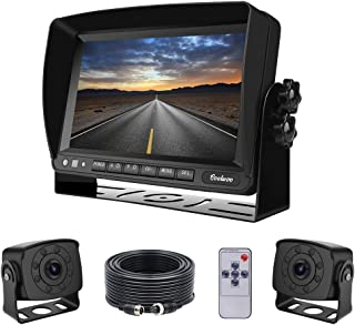 Dual Backup Cameras and Monitor Kit Wired for Van, RV, Semi Truck, 2 Upgraded 175º Wide View Infrared Waterproof Rear View... photo
