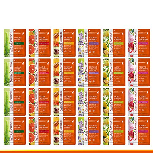 Natural Solution Facial Face Mask 24 Pack,Deep Moisturizing, Instant Hydrating,Facial Mask For Skin Brightening,Anti-Aging Anti Wrinkle,(Mix-4 of Each) (NSGF07)