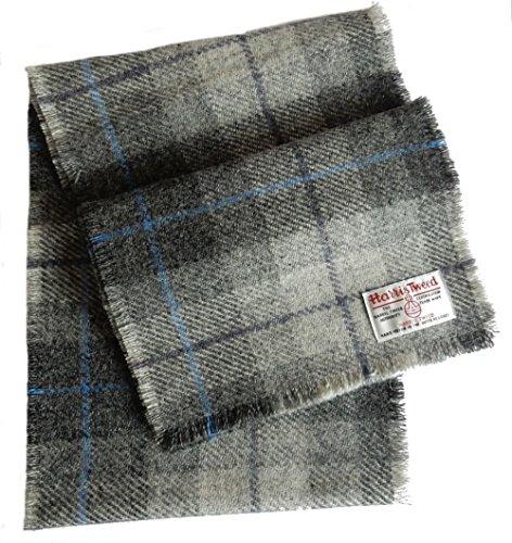 Harris Tweed Lichtgrijze Tartan wollen sjaal van Harriswear