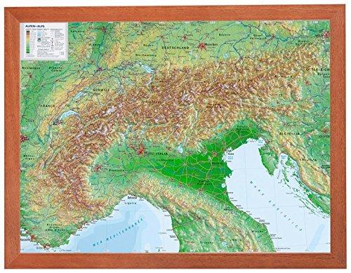 Alpen klein mit Rahmen 1:2.4MIO: Reliefkarte Alpenbogen klein mit Holzrahmen