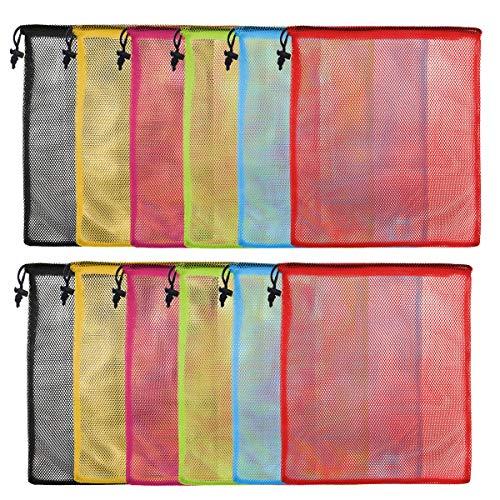 13'X15.5' 12Pcs Mesh Laundry Drawstring Bag Nylon Drawstring Gym Bag with Cord Lock Closure…