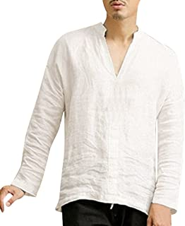 Wobuoke Men's Baggy Linen Long Sleeve Summer Autumn Cotton Retro V Neck T Shirts Tops Blouse