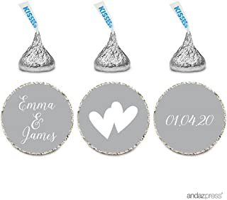Andaz Press Personalized Wedding Chocolate Drop Label Stickers, Interlocking Double Hearts, Gray, 216-Pack, For Engagement Bridal Shower Hershey's Kisses Party Favors