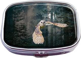 Guojew Owl at midnight Custom Fashion Square Pill Box Tablet Holder Pocket Purse Organizer Case Decoration Box