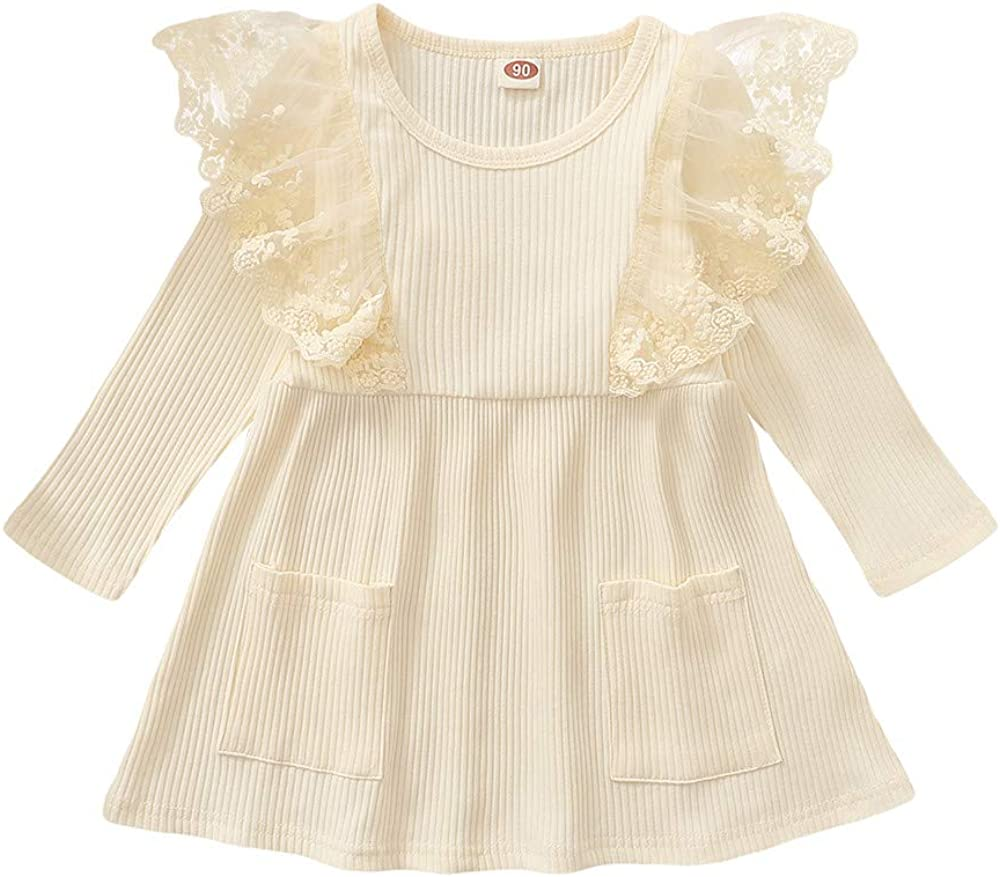 Toddler Baby Girl Cotton Button Pocket Ruffle Solid Floral Dresses