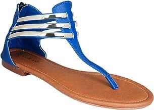 KOH KOH Women's Strappy Metallic Gladiator Summer Flats Sandals