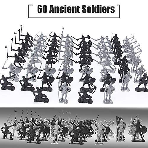 Lynkaye 60 pcs Medieval Soldiers Military Figures Toy Ancient Roman Soldiers Figures Statues Middle Ages Army Infantry Archer Warriors Model for Kids