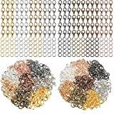 600 Pieces Lobster Clasps and Open Jump Rings Set Lobster Claw Clasps for Jewelry Making and Bracelets (Mixed Colors)