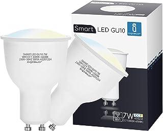 Aigostar Bombilla LED inteligente WiFi GU10, 7W. Regulables de luz cálida a blanca (3000 a 6500 K). Bombilla inteligente compatible con Alexa y Google Home. Equivalente a 39W incandescente.Pack 2 uds