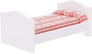 Shuohu Red Striped Kids Small Bed Model Toy Furniture Decor for 1:12 Scale Dollhouse