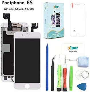 Screen Replacement Compatible iPhone 6S (4.7 inch) - LCD Display Touch Digitizer Assembly Set Proximity Sensor, Front Camera, Earpiece, Tempered Glass, Repair Tools Instruction (White)