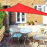 OKAWADACH Toldo Vela de Sombra Triangular 2 x 2 x 2m, protección Rayos UV Impermeable para Patio, Exteriores, Jardín, Color Rojo