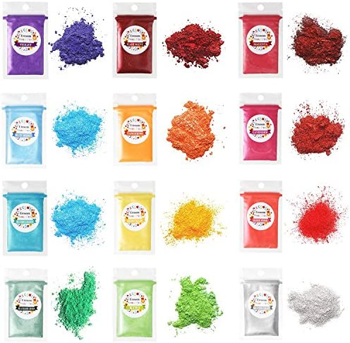 Erosom 12 Colors Mica Powder Pigments Soap Dye for Soap Coloring - Soap Making Colorants Set - 0.18oz 12 Bags - Skin Safe for DIY Soaps, Bath Bombs, Candle Making, Nail Polishes, Resin Makeup Dye.