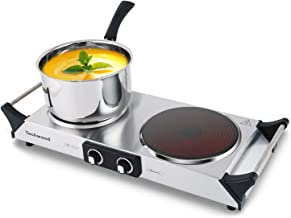 Techwood Hot Plate Electric Double Burner Ceramic Infrared Portable Burner 900W & 900W, Stay Cool Handles