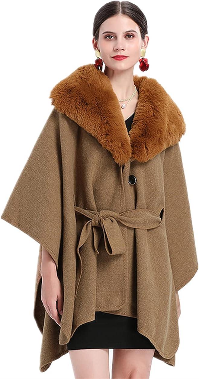 HONEST PHENIX COME Women's Faux Fur Trim Cape Coat Belted Cloak Poncho