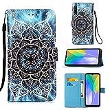 Miagon pour Huawei P40 Lite E/Y7P Housse en PU Cuir,Coque Etui Portefeuille à Rabat Clapet Support Fermeture Magnétique Stand Case Cover,Mandala Fleur