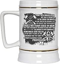 Cool Gift For Firemans Beer Mug, Awesome Firefighters Beer Stein 22oz (Beer Mug-White)