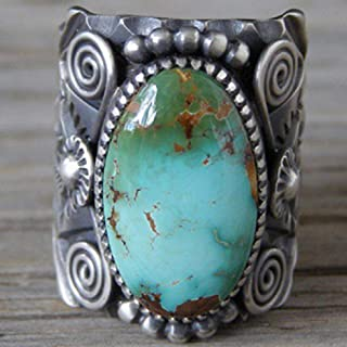 Wenbin 925 Sterling Silver Ring Delberto Climbing Oval Cut Natural Turquoise Bridal Ring Women's Ring Size 6-10 (US Code 10)