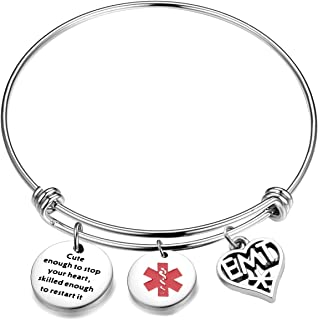 EMT Gifts Cute Enough to Stop Your Heart EMT Charms Bangle Bracelet Gifts for Paramedics