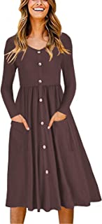 OUGES Women's Long Sleeve V Neck Button Down Skater Dress with Pockets