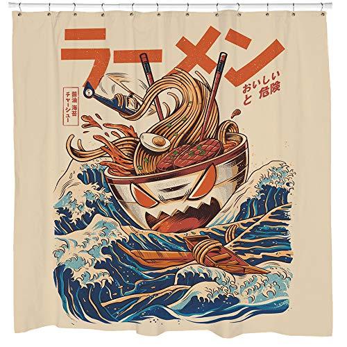 Sharp Shirter Duschvorhang-Set, lustiges Ramen, Beige, Badezimmer-Dekoration, lustiges Essen, Monster, Kalifornien, 180 x 188 cm, wasserdichte Haken enthalten