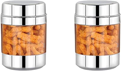 ekitchen Stainless Steel See Through Canister Set of 2pcs (900ml)