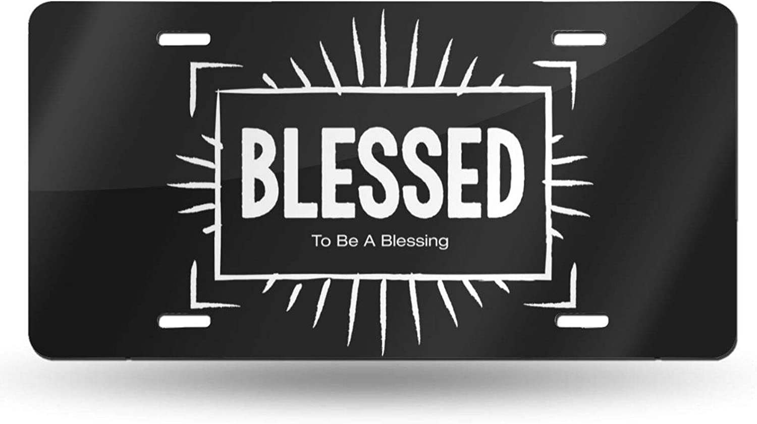 OHDS Blessed License Plate White Latest item Black Front Clearance SALE Limited time Decor