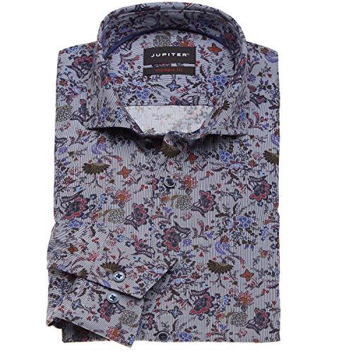Jupiter Hemd Übergrößen Herren Modisches Cityhemd mit floralem Allover-Print, Langarm dunkelblau_177 6XL