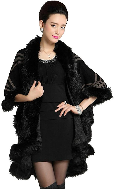 Duolaimi Women Faux Fur Shawl Wraps Cloak Coat Sweater Cape Poncho