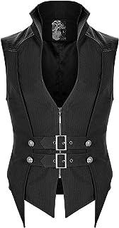 Punk Rave Mens Gothic Waistcoat Vest Top Black White Pinstripe Faux Leather Dark Dieselpunk Dystopian Slim Zip Strap WY-1190