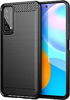 Telefonskydd för Huawei P Smart 2021 mjukt TPU mobiltelefonskydd telefon skyddsfodral med luftkudde snygg kolfiber borstad...