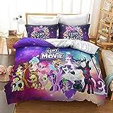 GDGM My Little Pony - Juego de ropa de cama para niños, funda nórdica y funda de almohada, ropa de cama infantil para niña, 135 x 200 cm, 2 piezas, algodón/Renforcé (M10,155 x 220 cm)