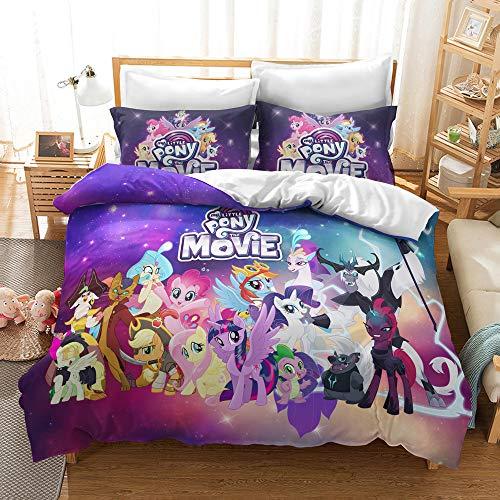 GDGM My Little Pony - Juego de ropa de cama para niñas, funda nórdica y funda de almohada, 135 x 200 cm, 2 piezas, algodón reforzado, M10., 155 x 220 cm