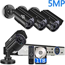 【5MP 8CH】 H.265+ Security Camera System,4Pcs UltraHD AHD Cameras+8Channel DVR,Free Phone&PC Remote,Motion Alert,64Ft Night Vision,IP66 Waterproof,24/7 Recording,Easy Setup,1TB Hard Drive