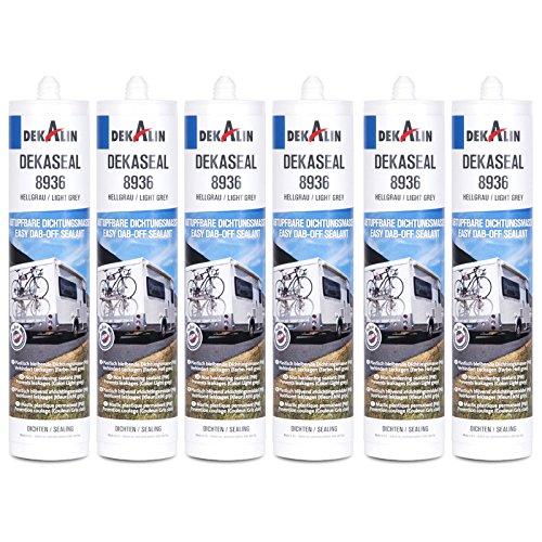 Dekalin Dichtstoff 6x 290 ml, hellgrau für Rahmen, Abläufe oder Wohnwagen und Wohnmobil Luken